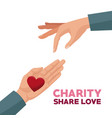 colorful hands charity share love giving a heart vector image