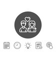 couple line icon users with heart sign vector image vector image