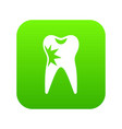 cracked tooth icon digital green vector image vector image