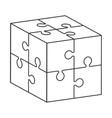cube in puzzle piece icon vector image vector image