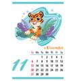 cute tiger wall calendar november template 2022 vector image