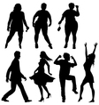 Dancing people - few human silhouettes vector image