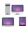 electronic devices with purple screens - desktop vector image vector image