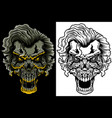 evil skull with hair vector image vector image