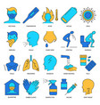flu icon set in colored line style vector image vector image