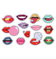 girl lips patch stickers fashion cool makeup lip vector image