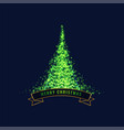glowing green christmas tree design background vector image