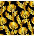 Gold garden flowers on black Seamless hand-painted vector image vector image