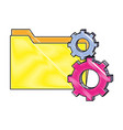 grated folder file and industry gears process vector image