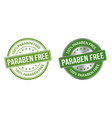 grunge stamp and silver label paraben free vector image vector image
