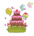 Happy Birthday card background with cake vector image vector image