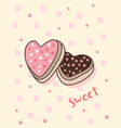happy valentines day with heart shaped cookies vector image