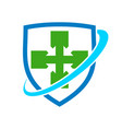 healthy cross shield protection symbol design vector image