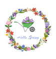 hello spring lettering and wreath banner bright vector image vector image