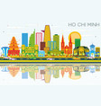ho chi minh skyline with color buildings blue sky vector image vector image