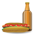 hot dog and bottle of beer vector image vector image