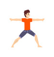 man in virbhadrasana pose young man practicing vector image vector image