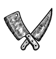 meat clever and butcher knife sketch style icon vector image
