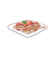 noodles with vegetable isolated icon vector image vector image