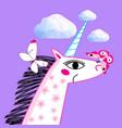 portrait a unicorn on a bright purple vector image vector image