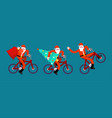 santa claus on bicycle set red bag and christmas vector image