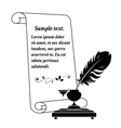 Scroll paper and inkwell vector image