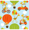 seamless pattern with giraffe on balloons vector image vector image