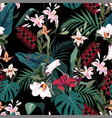 seamless tropical lilies protea and other exotic vector image vector image