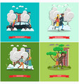set of weather concept posters in flat vector image vector image