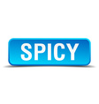Spicy blue 3d realistic square isolated button vector image vector image