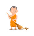 thai monk is leaf sweep design isolated on white vector image vector image