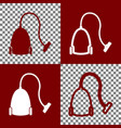 vacuum cleaner sign bordo and white icons vector image