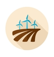 Windmill on the field flat icon with long shadow vector image