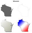 Wisconsin outline map set vector image vector image