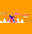 world music day banner fun man playing drum vector image
