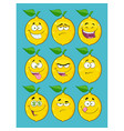 yellow lemon fruit collection with blue background vector image