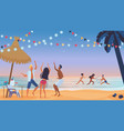 young people friends dancing on beach cartoon vector image
