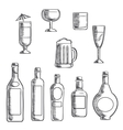 Bottles and glasses of alcohol beverages sketch vector image