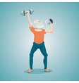 Senior man making an exercise with a dumbells vector image
