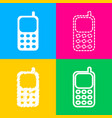 cell phone sign four styles of icon on four color vector image