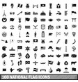 100 national flag icons set simple style vector image vector image