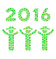 2016 guys dance mosaic icon of dots vector image