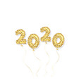 2020 new year gold glitter balloon numbers vector image vector image