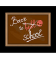 Back to hell crossed out in school and skull vector image vector image