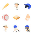 baseball equipment icons set cartoon style vector image vector image