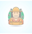 Beekeeper man in a bee protective veil icon vector image vector image