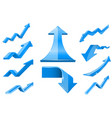 blue arrows financial indication icons set vector image vector image