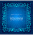 blue border lace invitation glowing mandala vector image
