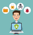blue color background laptop with security shield vector image vector image