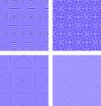 Blue seamless line pattern background set vector image vector image